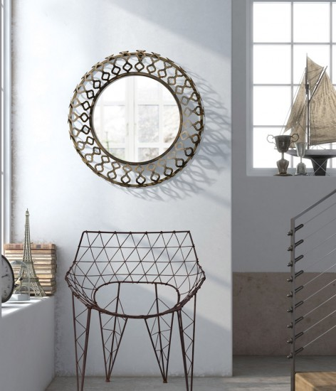 Intricate wired designs give this mirror a unique look