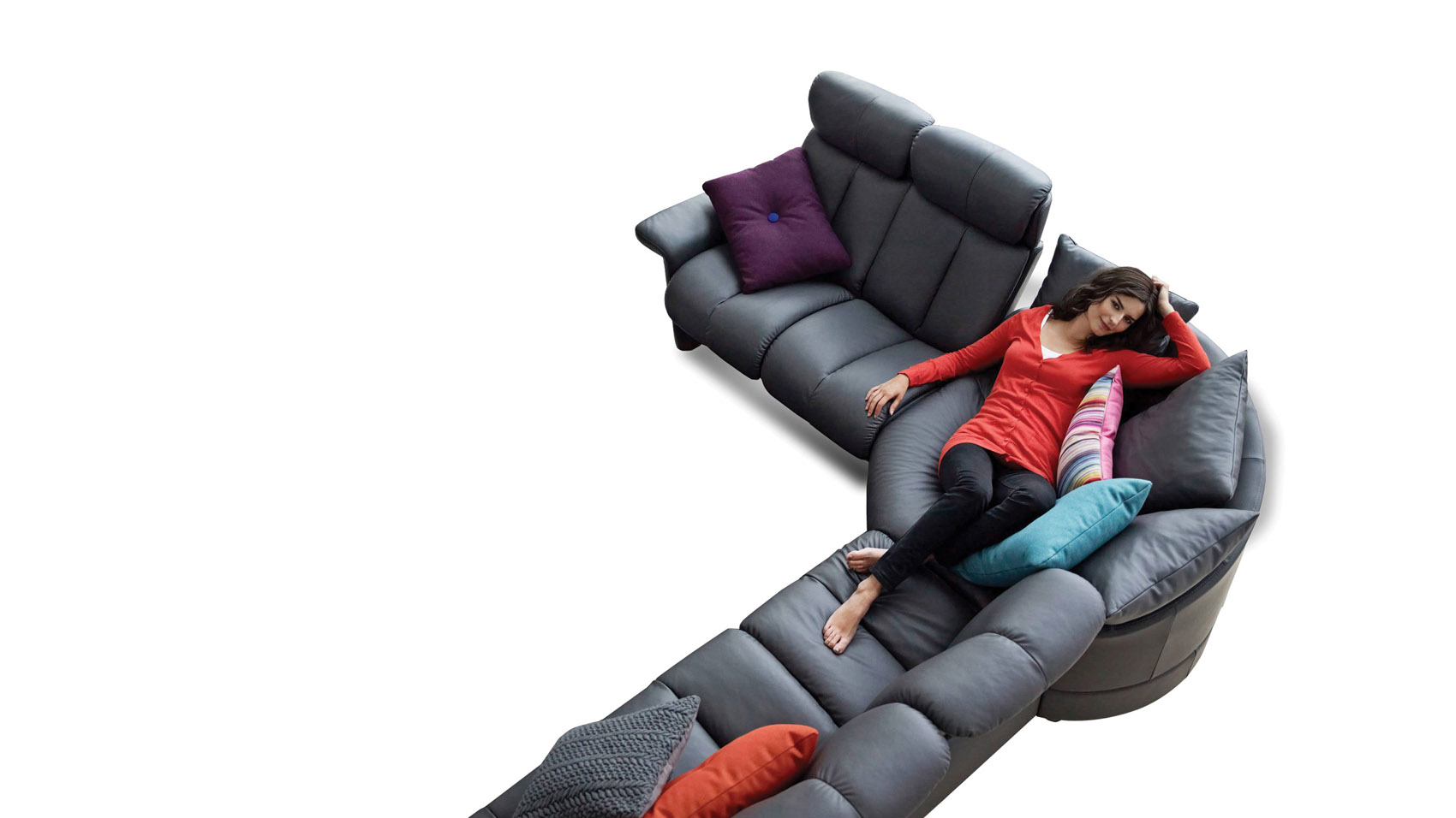 Combine Leather Recliners And A Circled Sofa For This Unique Seating  Arrangement