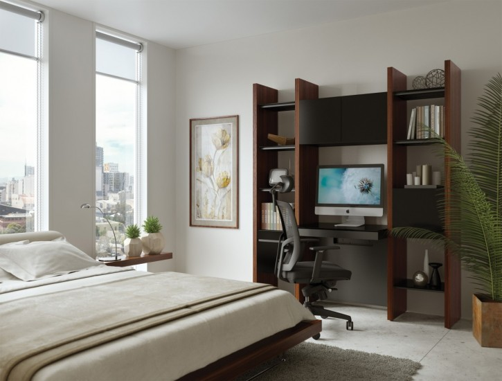 A home office in a condo bedroom