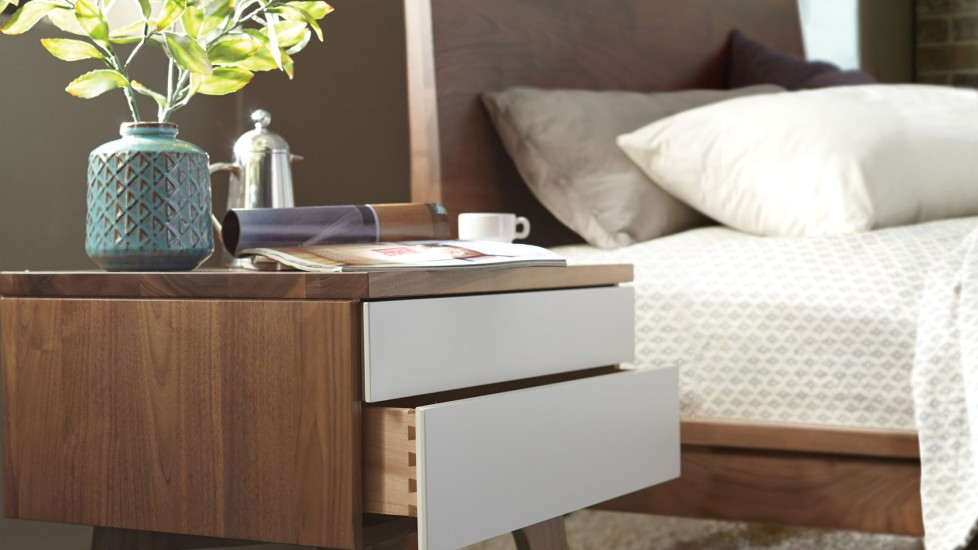 Wooden bedside table for a rustic, strong build