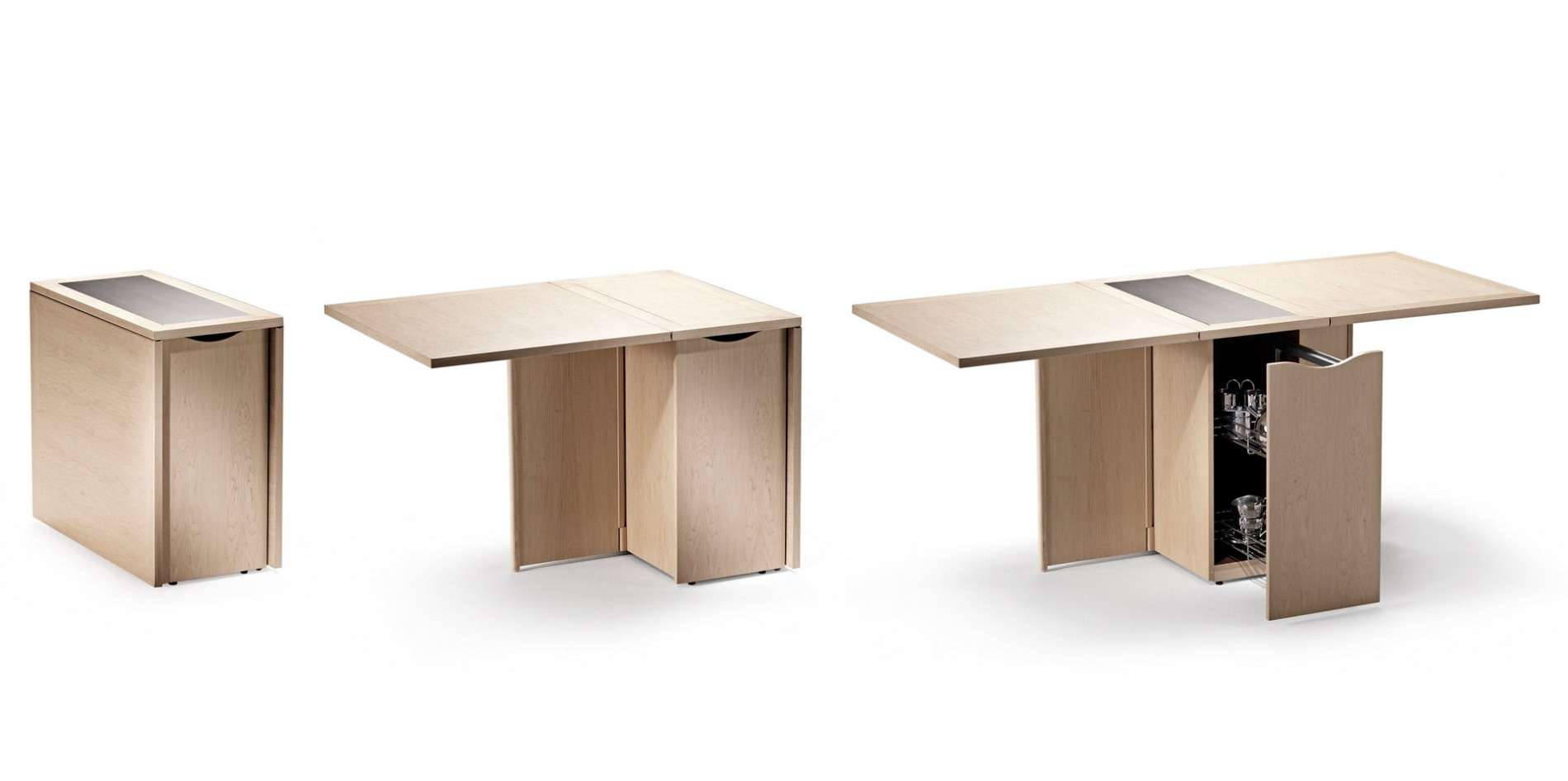 A Full Sized Table Can Collapse Into Mini Drawer For Your Dishes
