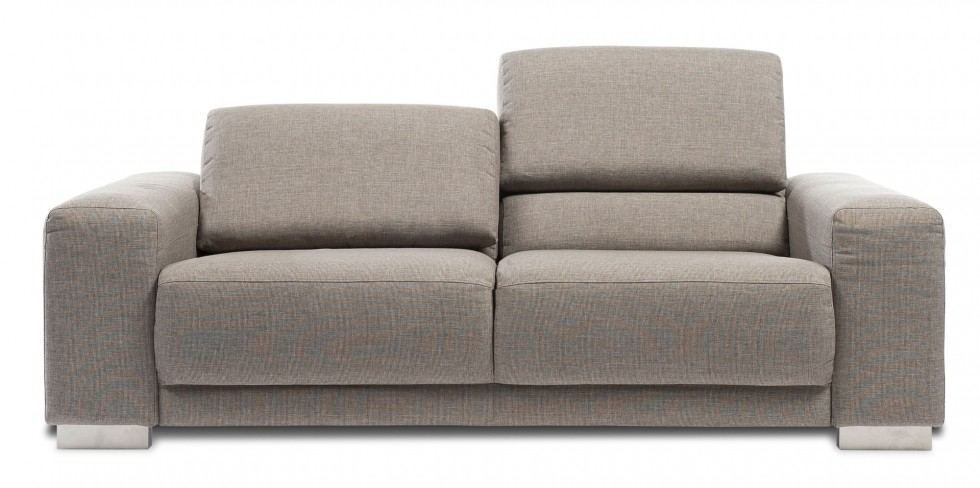 A grey fabric couch with large cushions