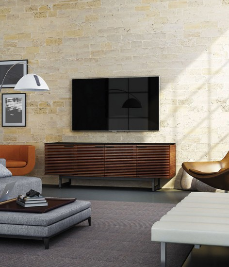 A television is the center of your living room, but you can still surround it with unique furniture